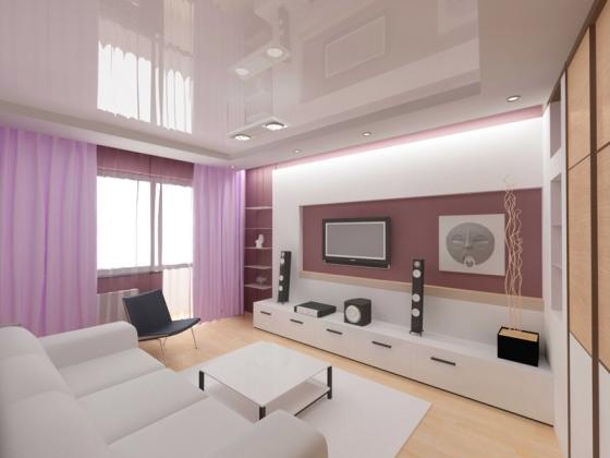 Дизайн зала в панельном доме с лоджией