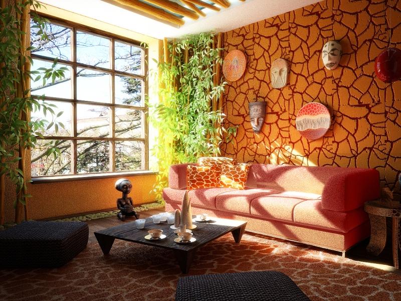 Яркая гостиная в этно стиле