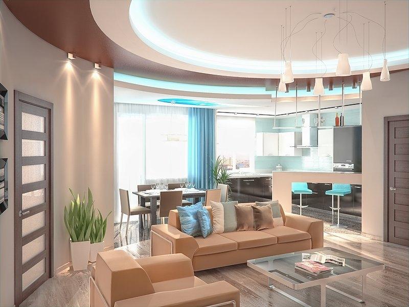 Отделение кухни,совмещенной с гостиной при помощи дизайна потолка