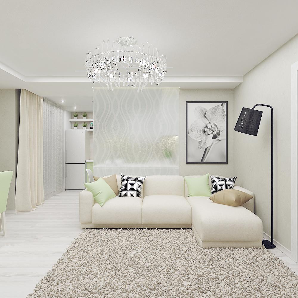 Современная классическая гостиная в светлых тонах