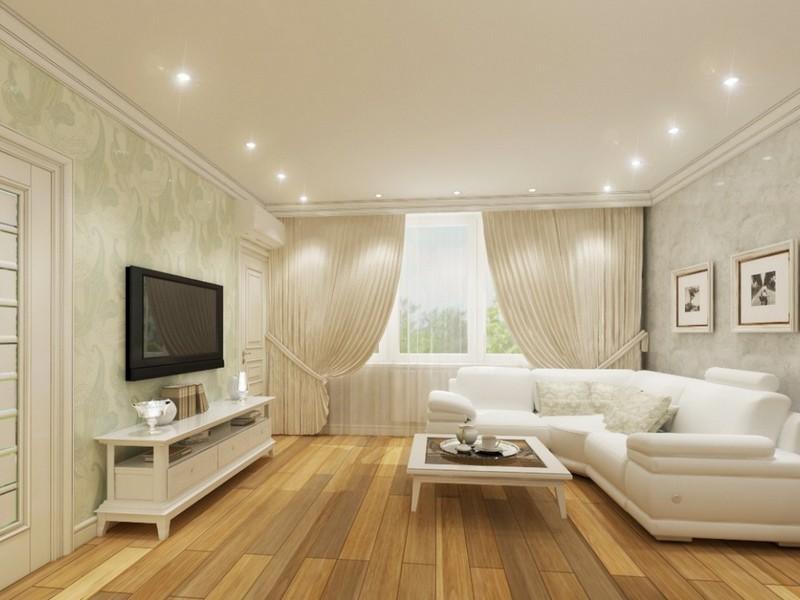 Точечное освещение в интерьере гостиной