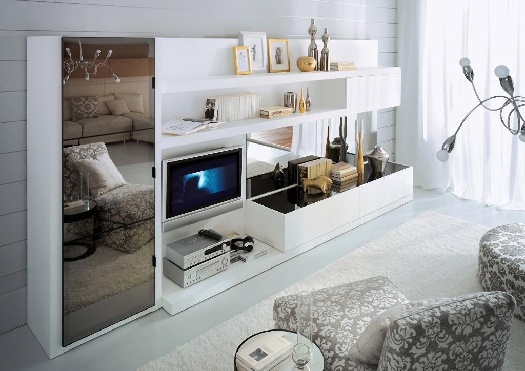Удобная стенка в гостиную в современном стиле