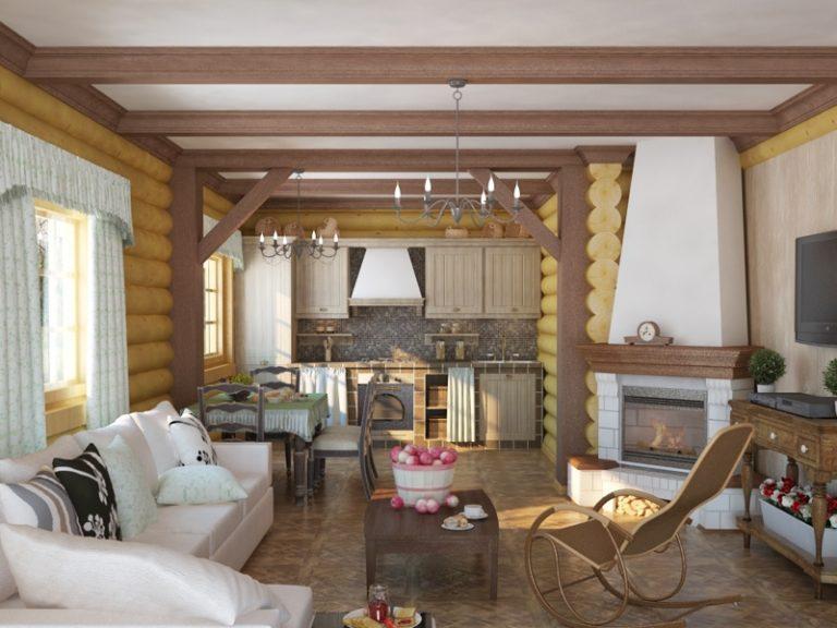 Интерьер гостиной с кухней деревянного дома фото