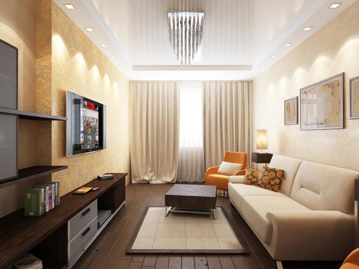 Световое освещение гостиной 18 кв м