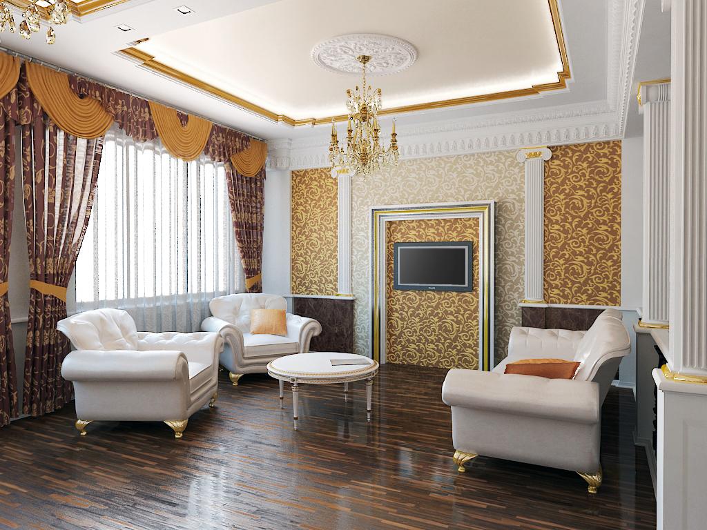 Пол в гостиной в классическом стиле