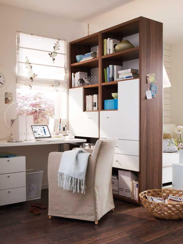 Зонирование гостиной корпусной мебелью