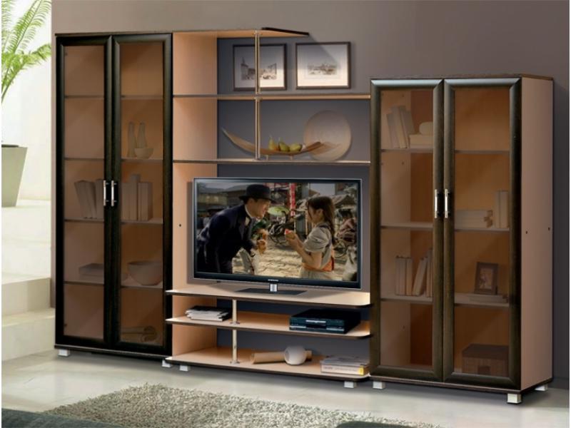 """Стенка для гостиной мебельной фабрики """"Успех"""" со стеклянными дверцами"""