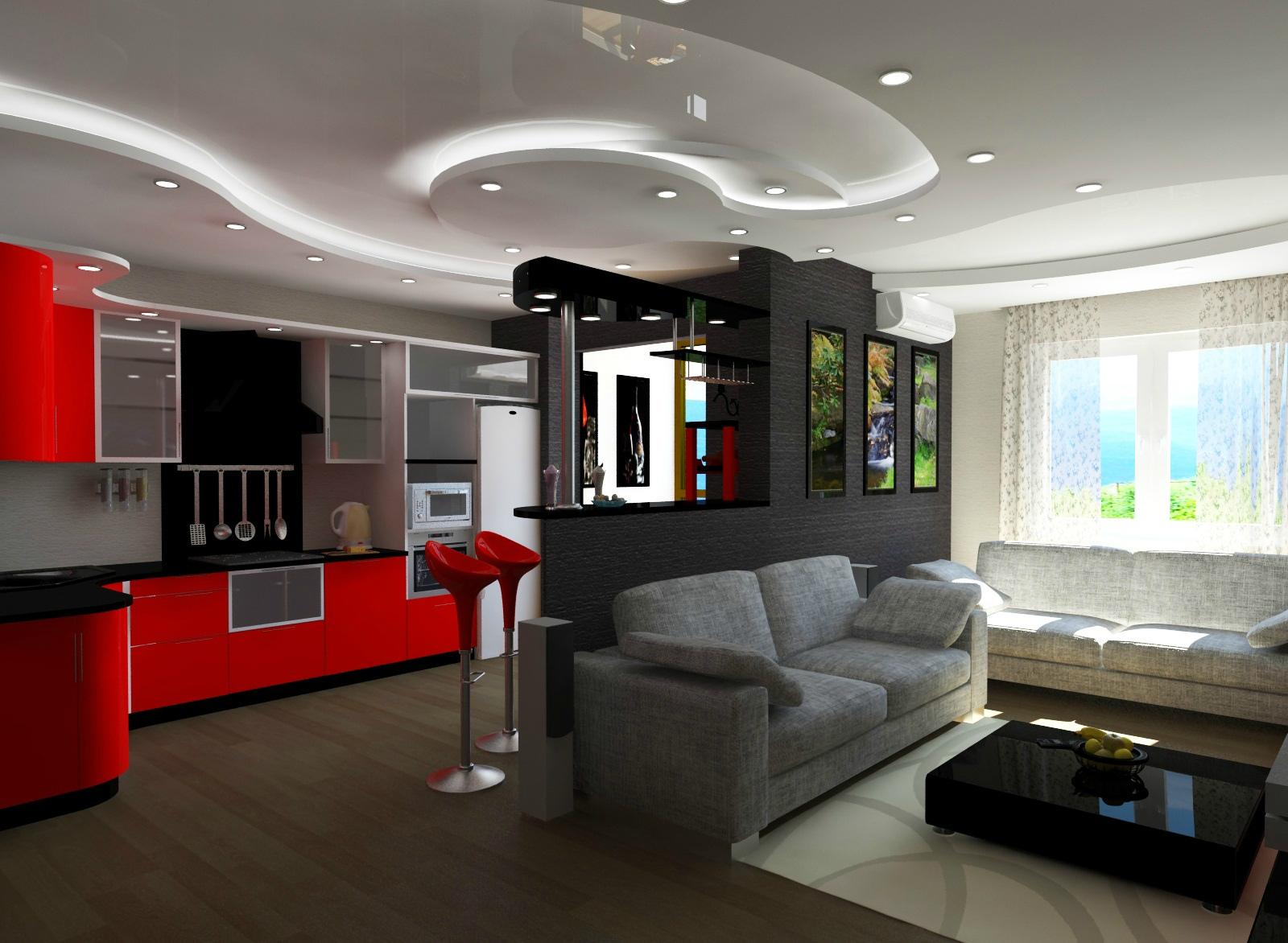 Дизайн кухни - гостиной 20 кв м