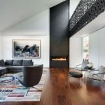 2015 living room interior design trend minimalist living room black fireplace sofa 1