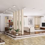 3D villa living room pillars partition 1