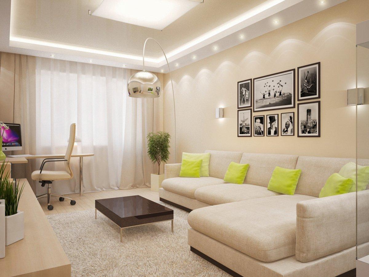 Интерьер для гостиной 18 кв м в светлых тонах