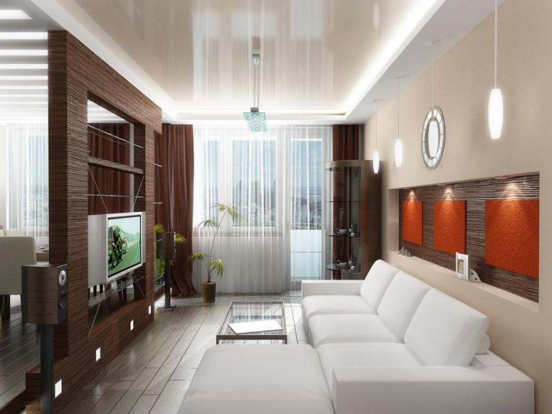 Глянцевый потолок в маленькой гостиной