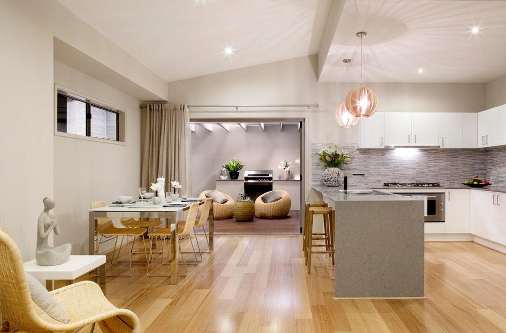 Выделение зоны гостиной от кухни при помощи шторы