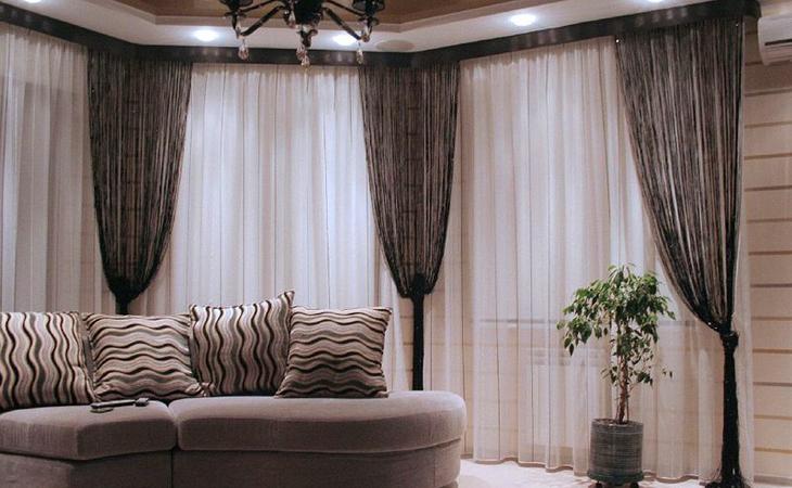 Нитяные шторы в стиле модерн в дополнение к тюлю