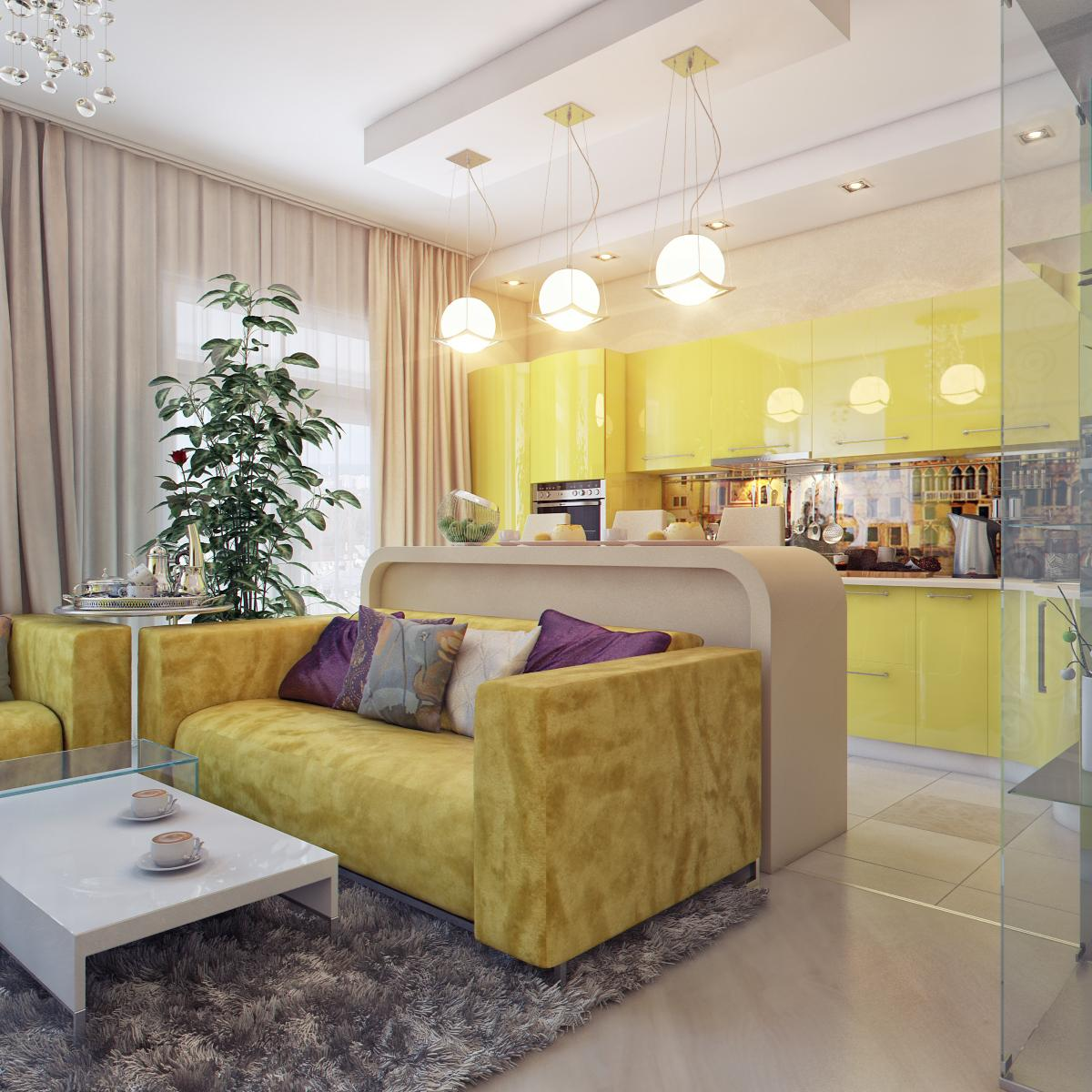 Зонирование гостиной, совмещенную с кухней, можно при помощи стойки