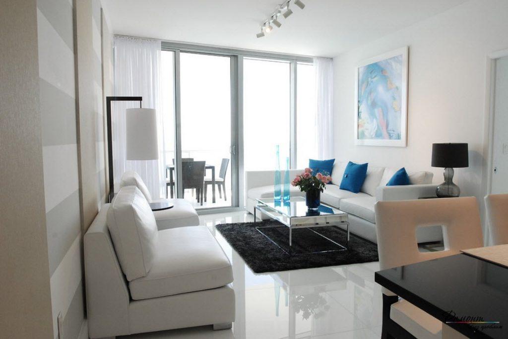 Наливной полимерный пол в светлой гостиной