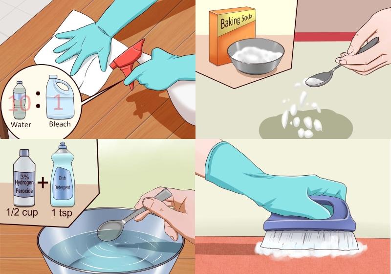 Чистка ковра от кошачьей мочи при помощи соды, перекиси водорода,пятновыводителя
