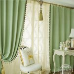 Concise Green Print Blackout Heat Insulation Living Room Curtain Two Panels X041