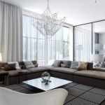 Contemporary Living Room with Sheer White Curtains