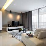 Contemporary Living Room with Thick and Sheer Grey Curtains