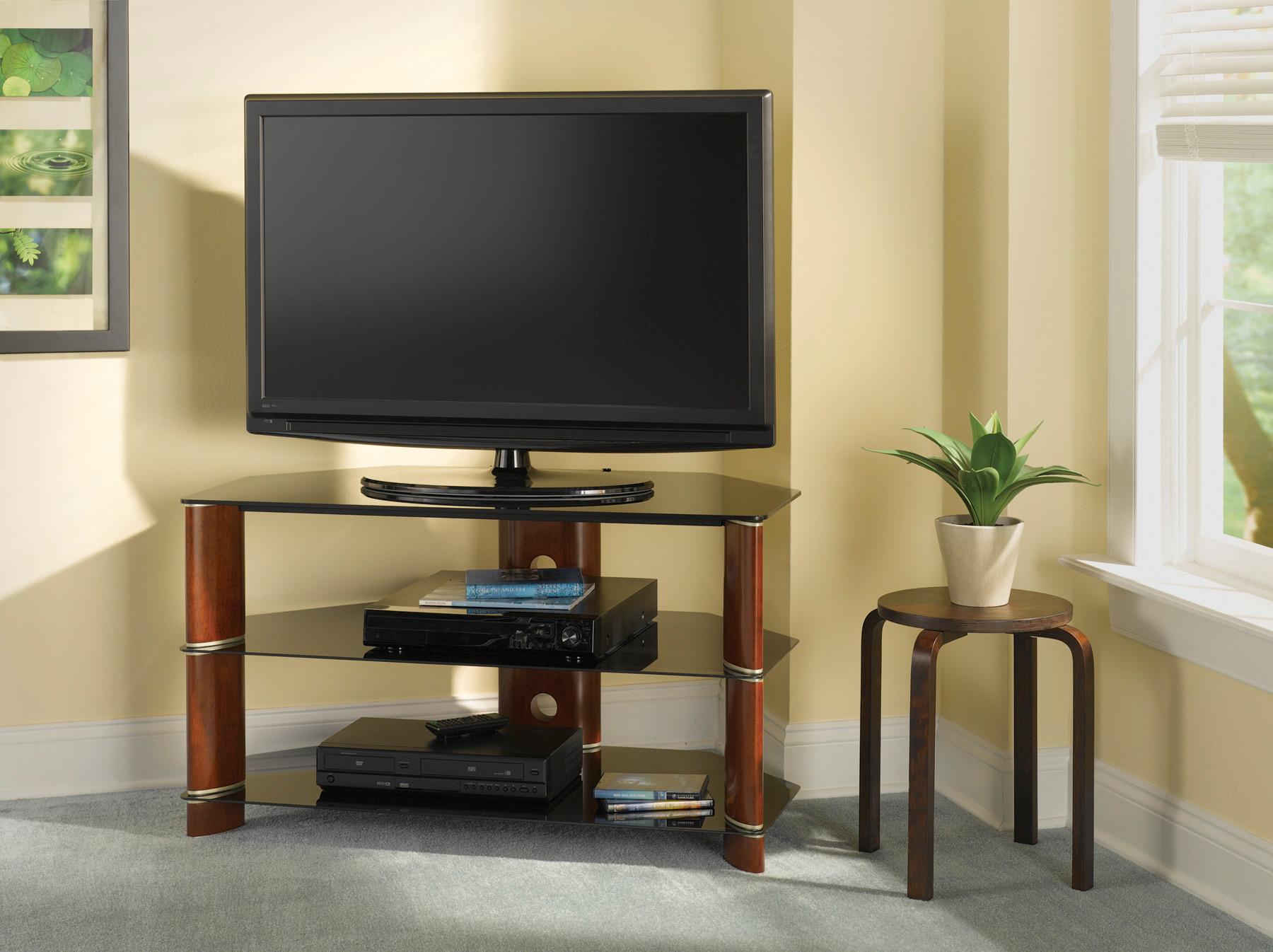 Угловая тумба для телевизора из дерева и стекла