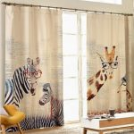 Curtain Modern Style Zebra giraffe linen curtains for living room curtains kids 1