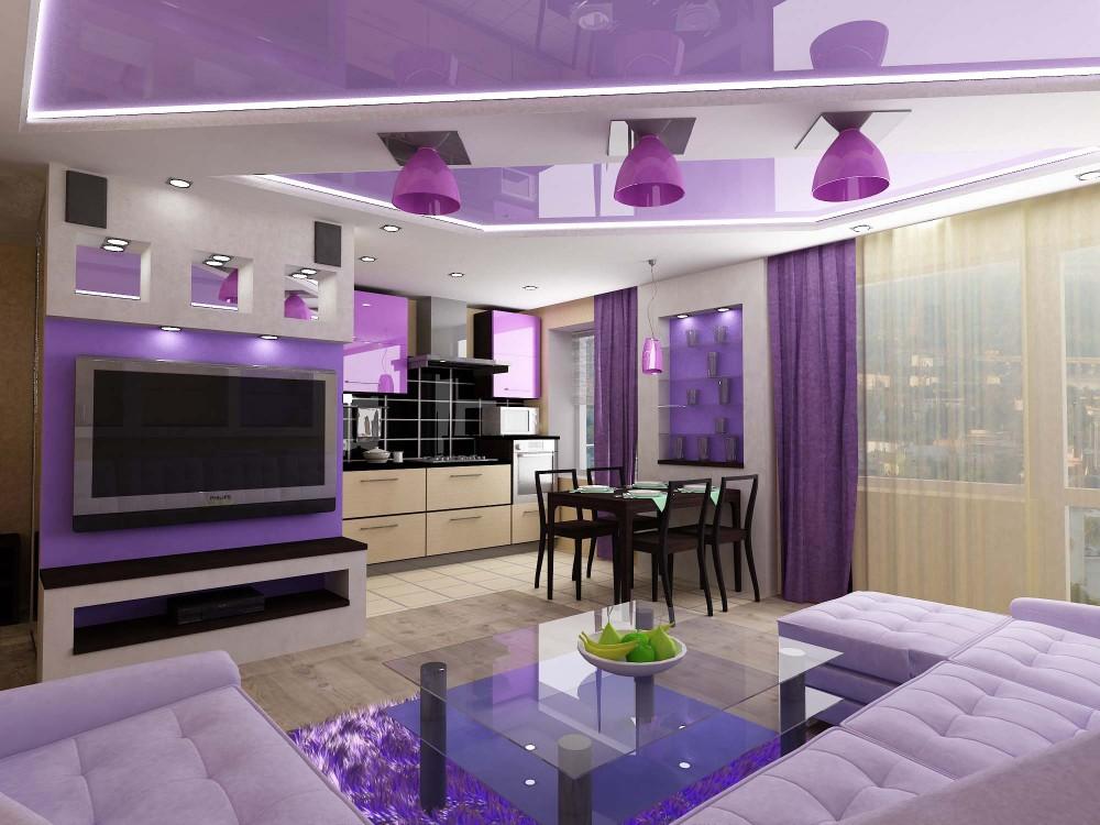 Визуальное разделение кухни, совмещенной с гостиной, при помощи дизайна потолка и освещения