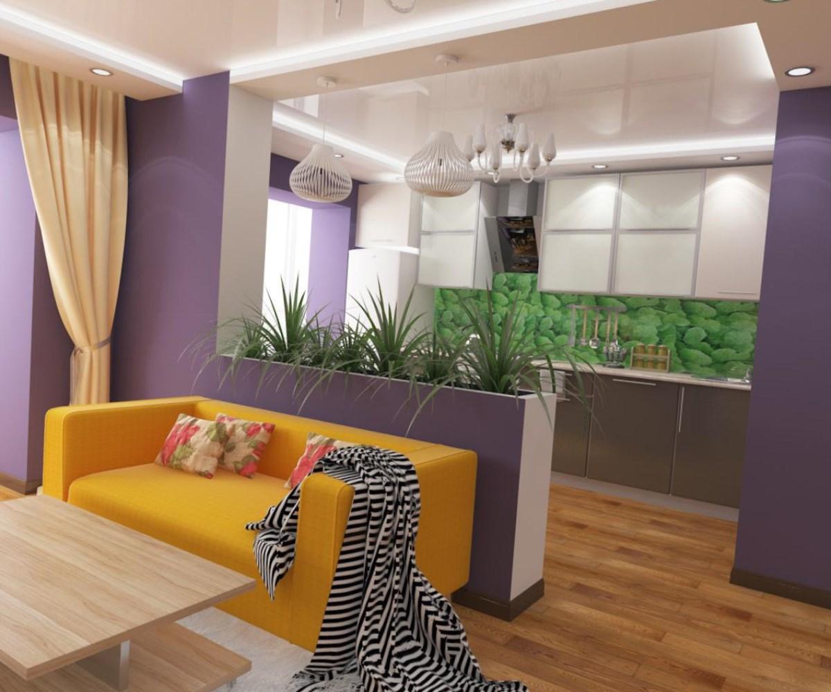 Разделение кухни, совмещенной с гостиной, при помощи стойки с цветами