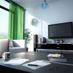 Green Curtain with Black Furniture Design for Modern Living Room Decorating Ideas