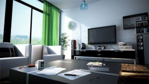 Green-Curtain-with-Black-Furniture-Design-for-Modern-Living-Room-Decorating-Ideas