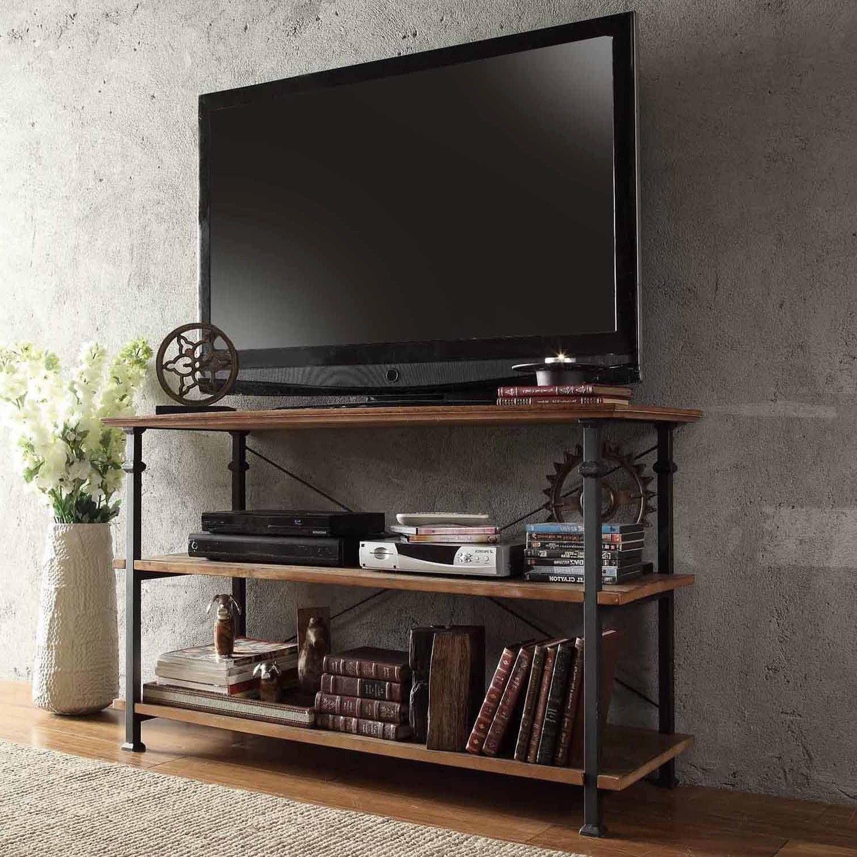 Тумба по телевизор из металла и дерева