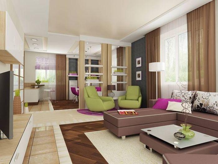 Деревянные брусья с перекладинами для разделения пространства кухни гостиной