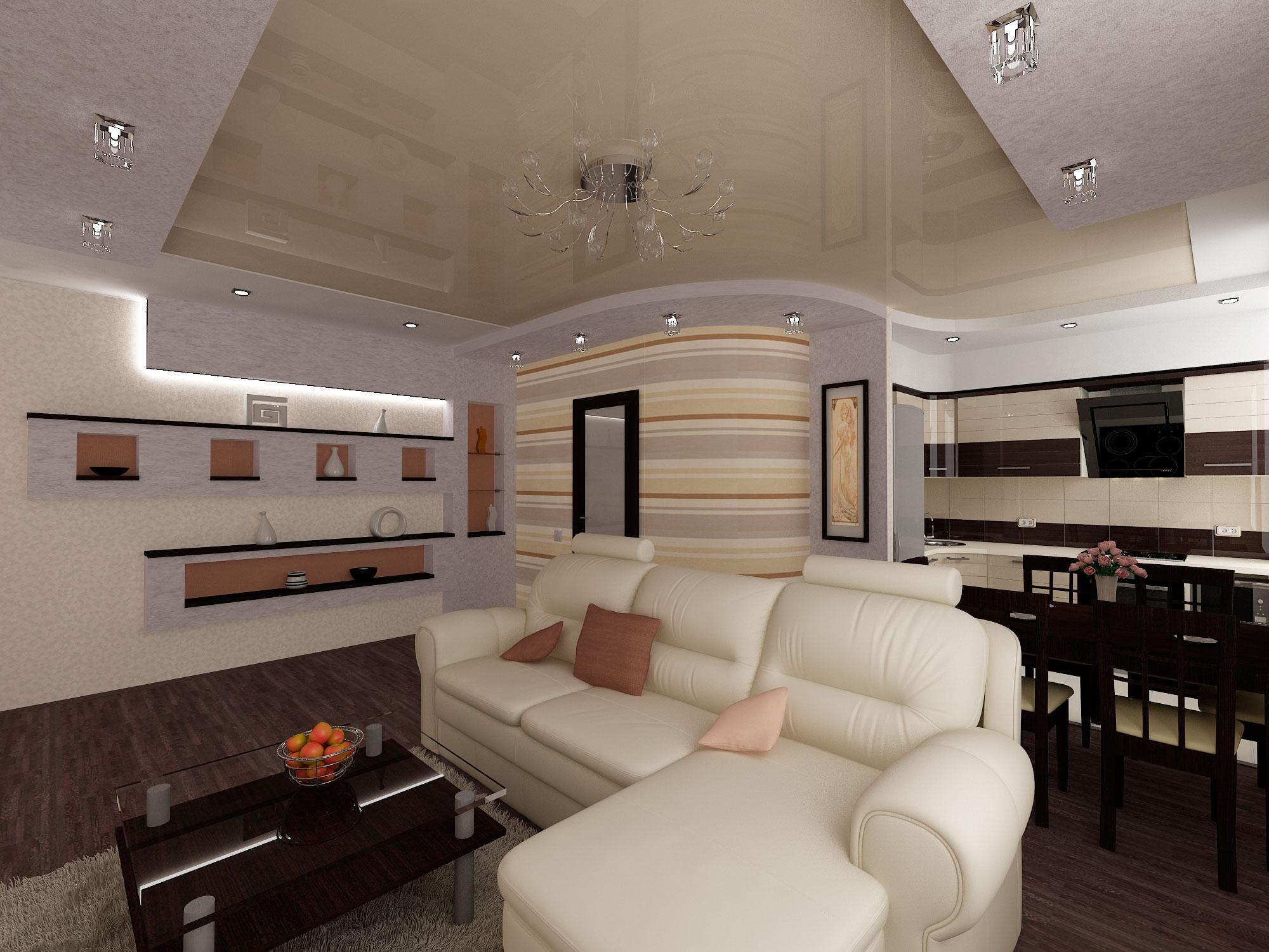Зонирование интерьера кухни - гостиной диваном
