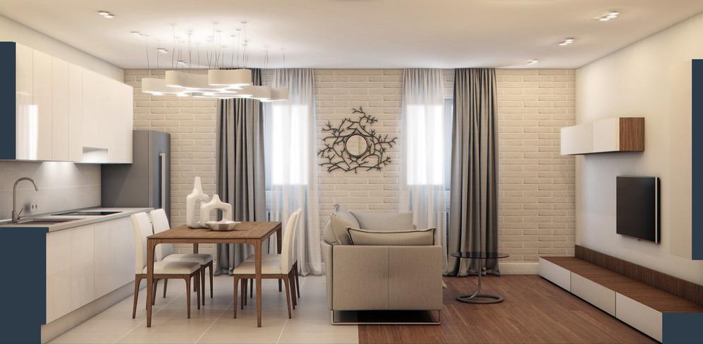 Кухня - гостиная 20 кв м в стиле минимализм