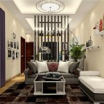 Living room partition and floor lamp