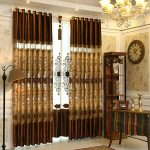 Luxury Gold Brown Lace Patterned Living Room Curtains CMT10011 1