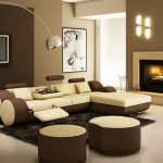 Metalic Arched Floor Lamp with Small Leather Sectional Sofa and Stylish Fireplace for Modern Living Room Ideas with Black Carpet