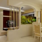 Partition for dining room and living room with aquarium