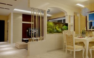 Partition-for-dining-room-and-living-room-with-aquarium