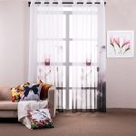 Printed Big Flower Modern Style Curtains for Living Room Flat Window Tulle Curtain Punching Window Screening