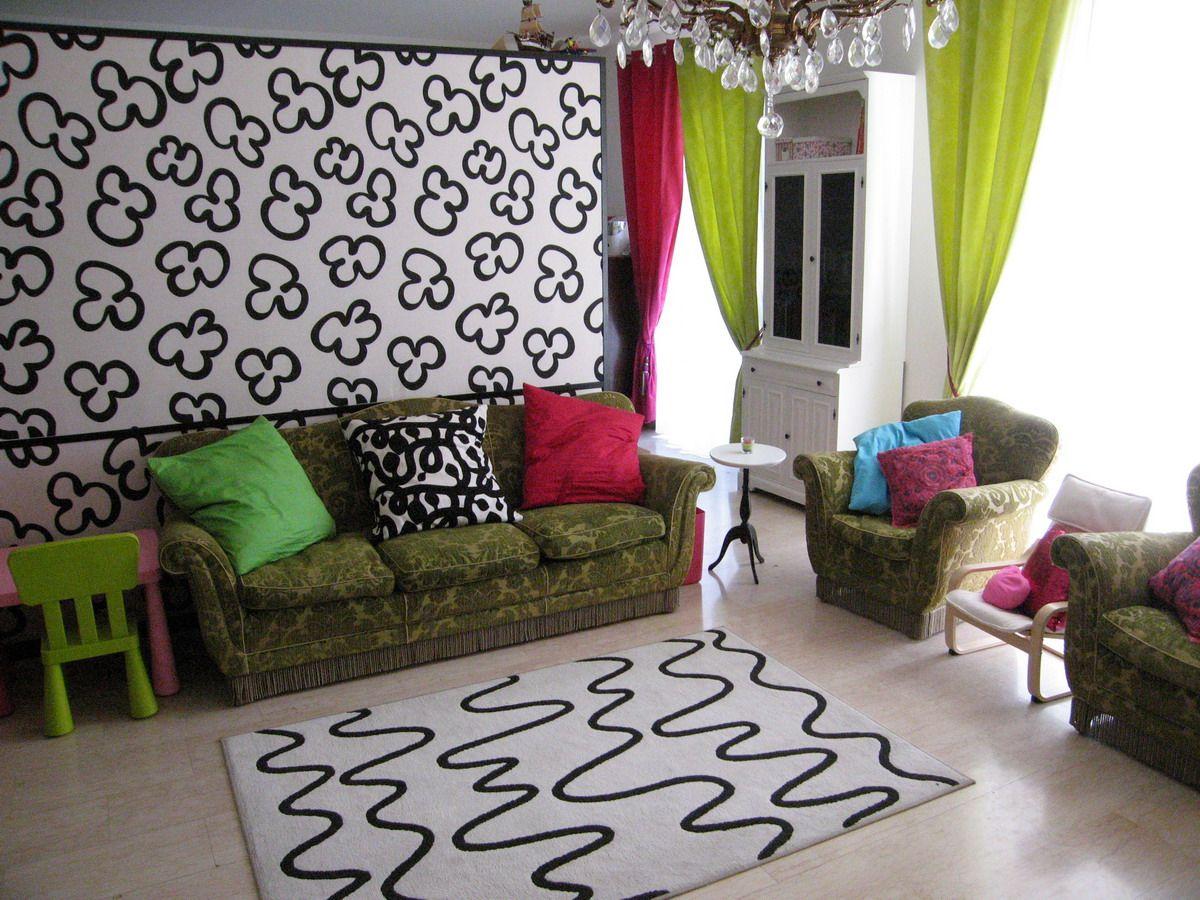 Шторы для гостиной в стиле поп- арт кислотных оттенков