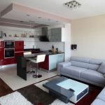 Simple Interior Setting of Architecture Modern Apartment Displaying Grey Themed Living Room and Red Kitchen design in open floor plan contemporary interior design house white sofa in small house design 888x5