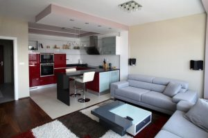Simple-Interior-Setting-of-Architecture-Modern-Apartment-Displaying-Grey-Themed-Living-Room-and-Red-Kitchen-design-in-open-floor-plan-contemporary-interior-design-house-white-sofa-in-small-house-design-888x5