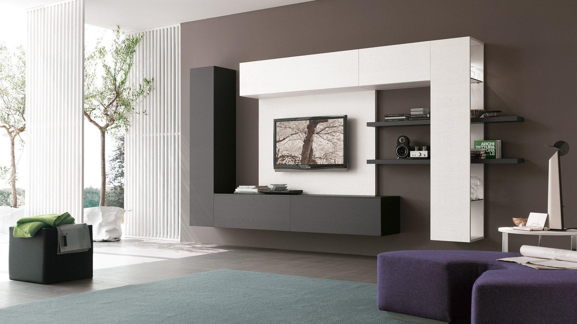 Концепт инь янь для модульной стенки в гостиной
