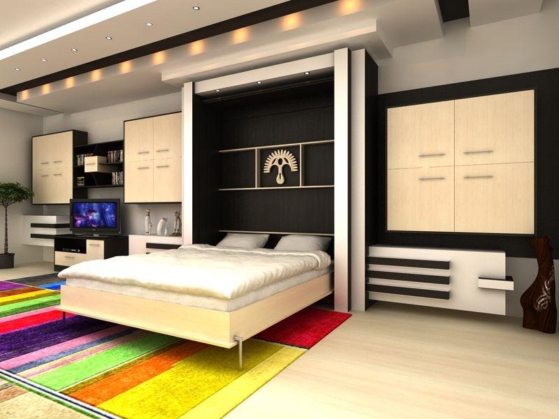 Кровать - шкаф как часть модульного гарнитура в гостиной