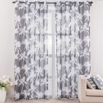 Spring Window Curtains Living Room White Black Curtain Printed Scenic Modern Style Curtain Fabric 1Piece FreeShipping