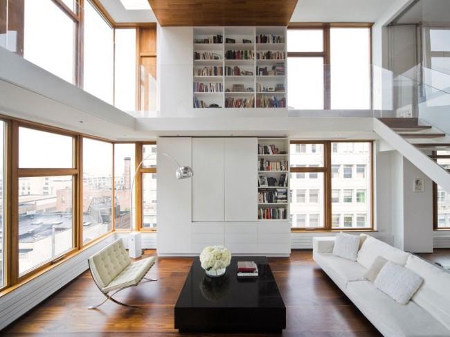 Необычная большая стенка в гостиной в современном стиле