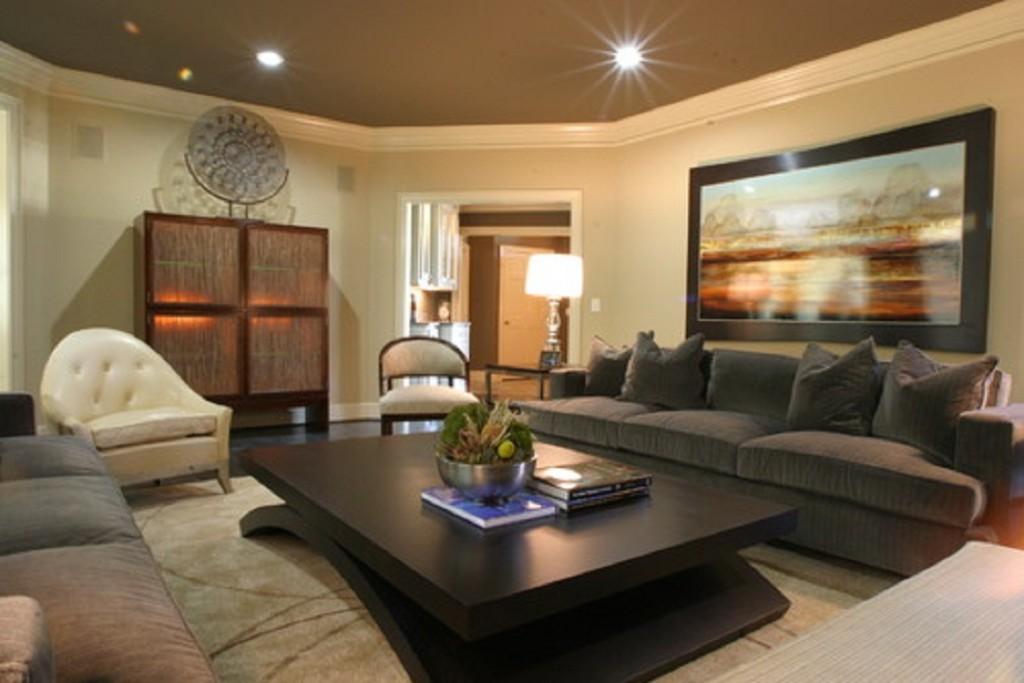 Дизайн гостиной с темной мебелью