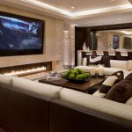 Traditional Living Room Ideas with Electric Fireplace and Big LED Screen TV