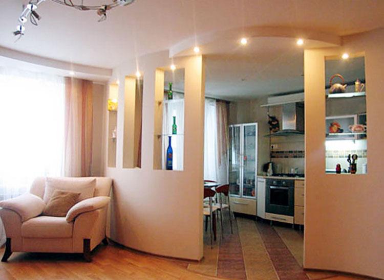 Расширение пространства кухни за счет пространства гостиной